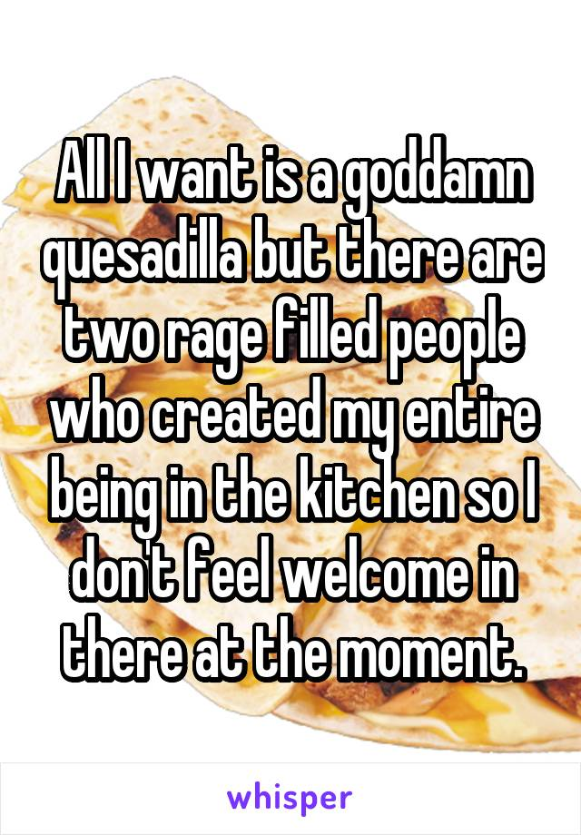 All I want is a goddamn quesadilla but there are two rage filled people who created my entire being in the kitchen so I don't feel welcome in there at the moment.