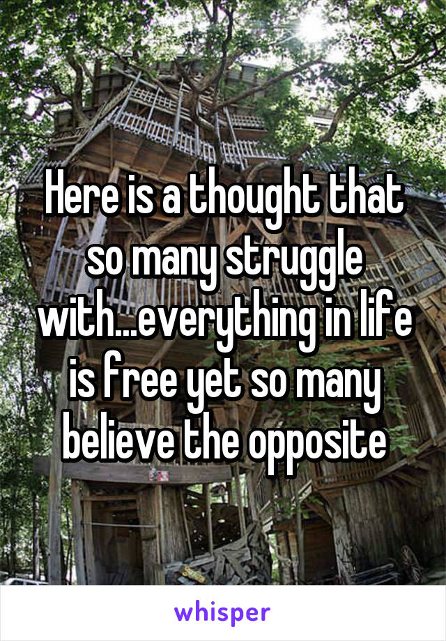 Here is a thought that so many struggle with...everything in life is free yet so many believe the opposite