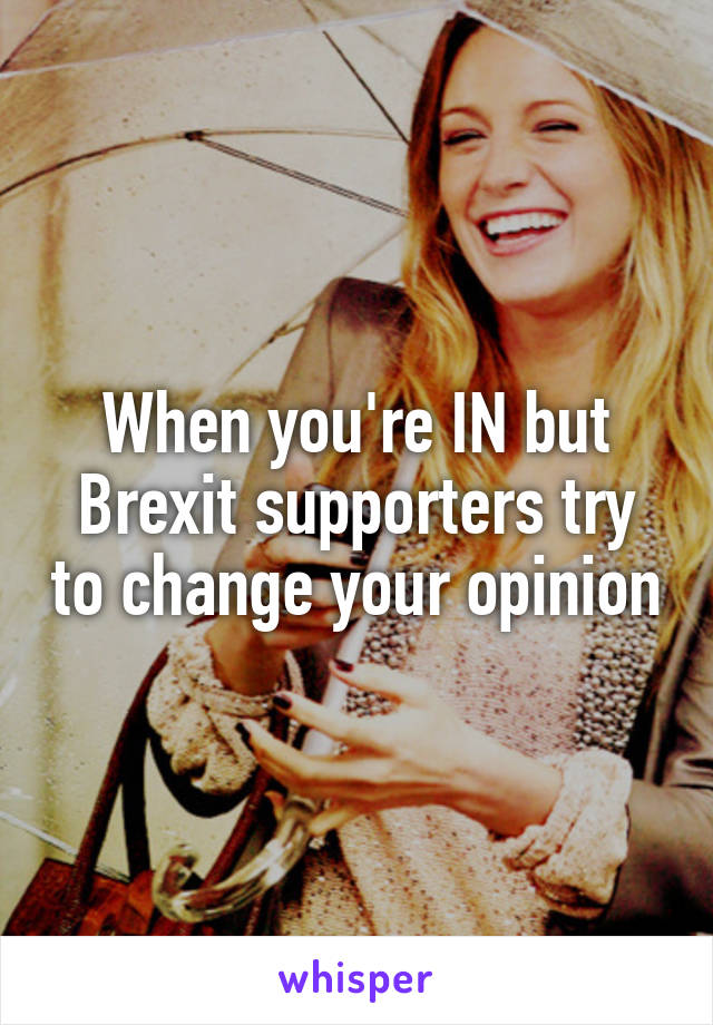 When you're IN but Brexit supporters try to change your opinion