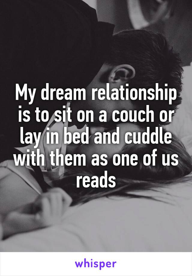 My dream relationship is to sit on a couch or lay in bed and cuddle with them as one of us reads