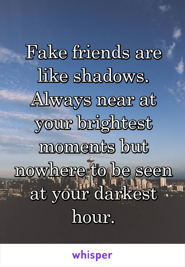 Fake friends are like shadows. Always near at your brightest moments but nowhere to be seen at your darkest hour.