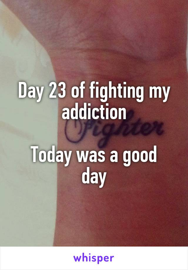 Day 23 of fighting my addiction  Today was a good day