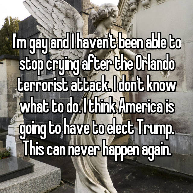 I'm gay and I haven't been able to stop crying after the Orlando terrorist attack. I don't know what to do. I think America is going to have to elect Trump. This can never happen again.