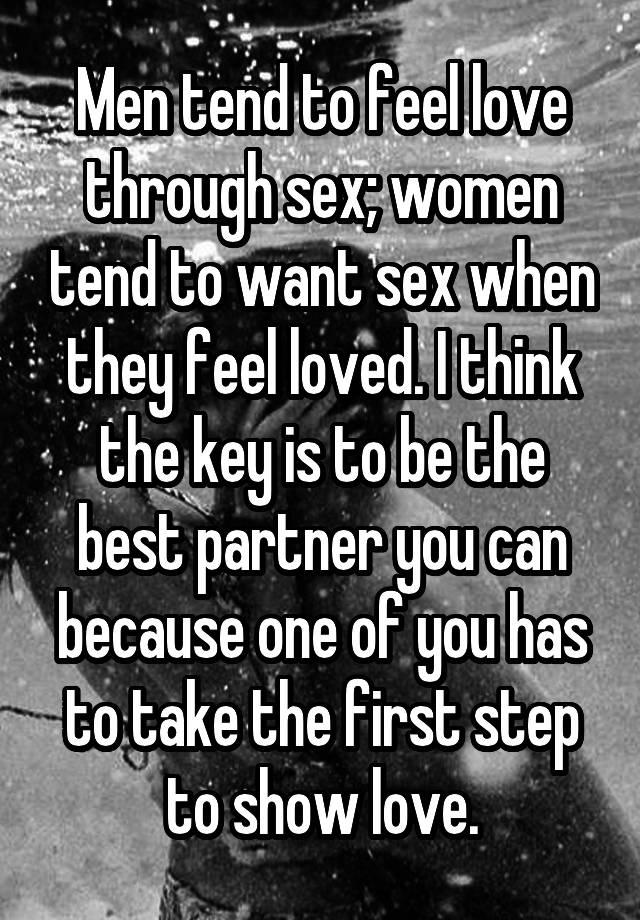 Sex feel loved by man