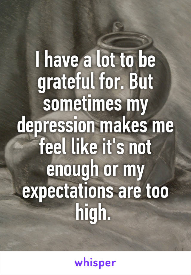 I have a lot to be grateful for. But sometimes my depression makes me feel like it's not enough or my expectations are too high.