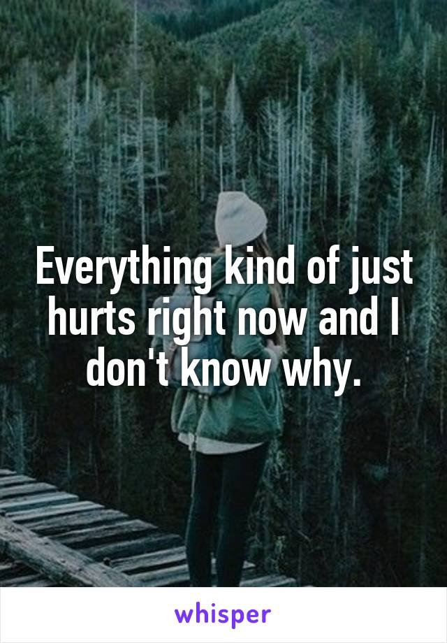 Everything kind of just hurts right now and I don't know why.