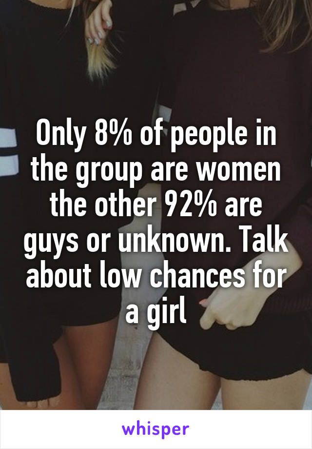 Only 8% of people in the group are women the other 92% are guys or unknown. Talk about low chances for a girl