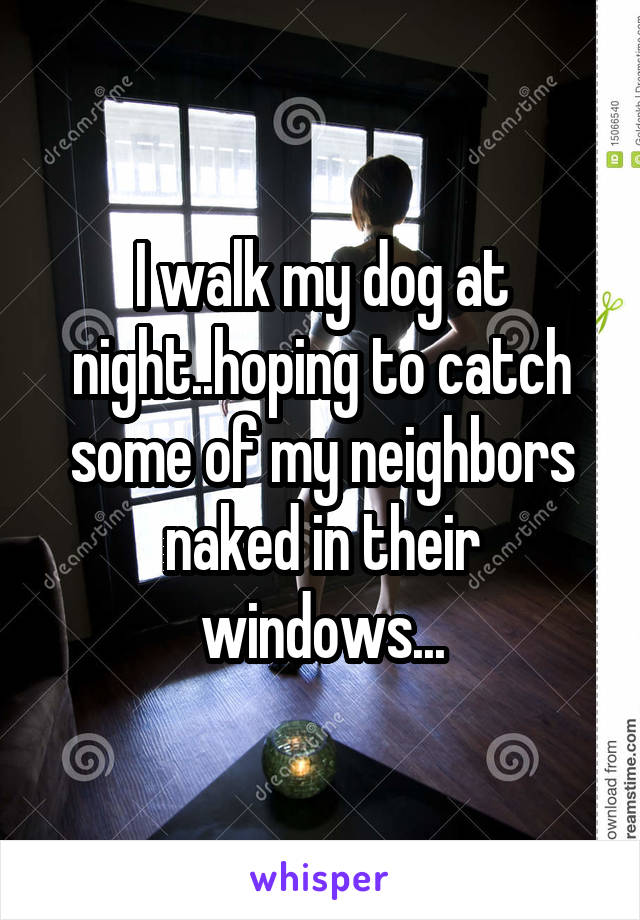 I walk my dog at night..hoping to catch some of my neighbors naked in their windows...