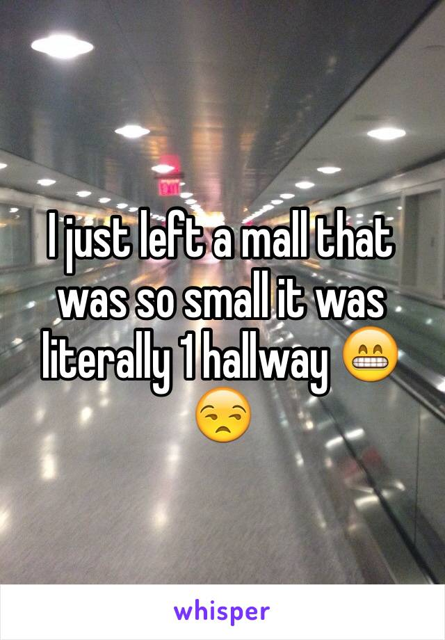 I just left a mall that was so small it was literally 1 hallway 😁😒