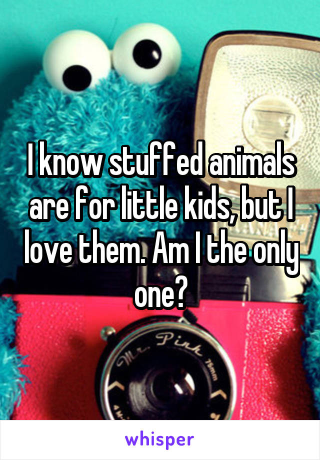 I know stuffed animals are for little kids, but I love them. Am I the only one?