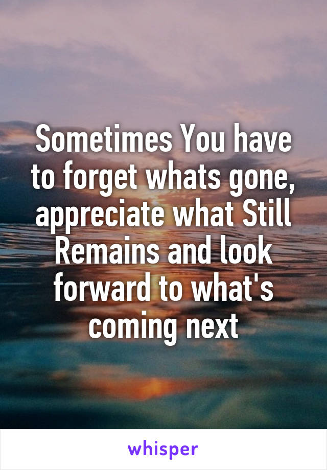 Sometimes You have to forget whats gone, appreciate what Still Remains and look forward to what's coming next