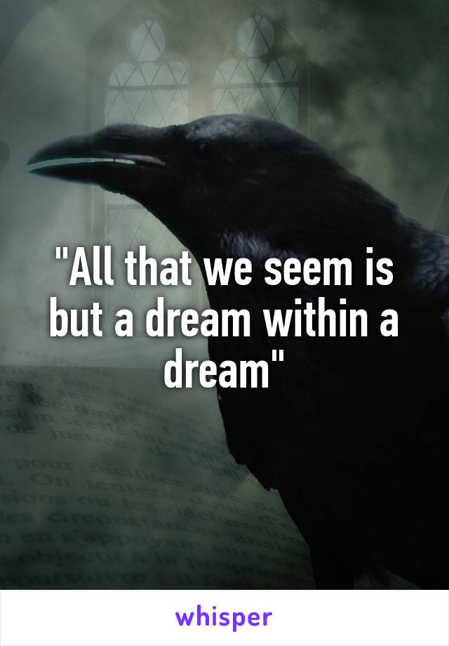 """""""All that we seem is but a dream within a dream"""""""