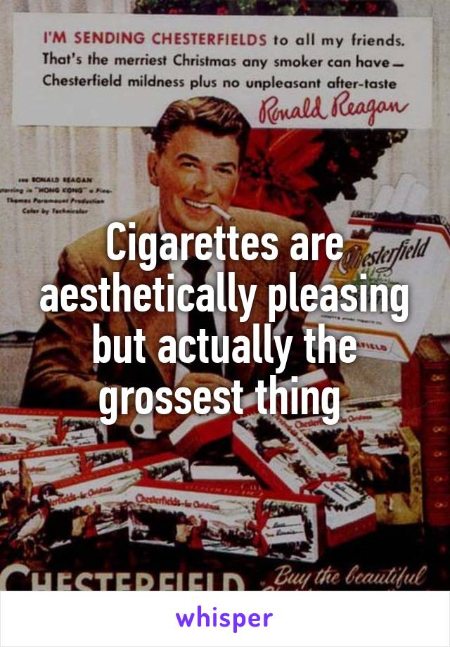 Cigarettes are aesthetically pleasing but actually the grossest thing