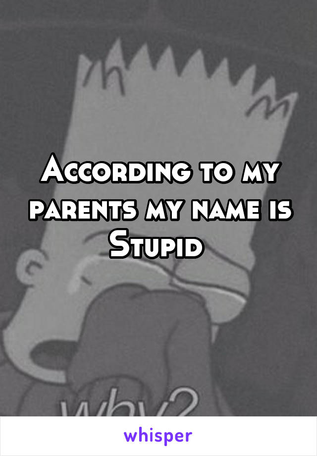 According to my parents my name is Stupid