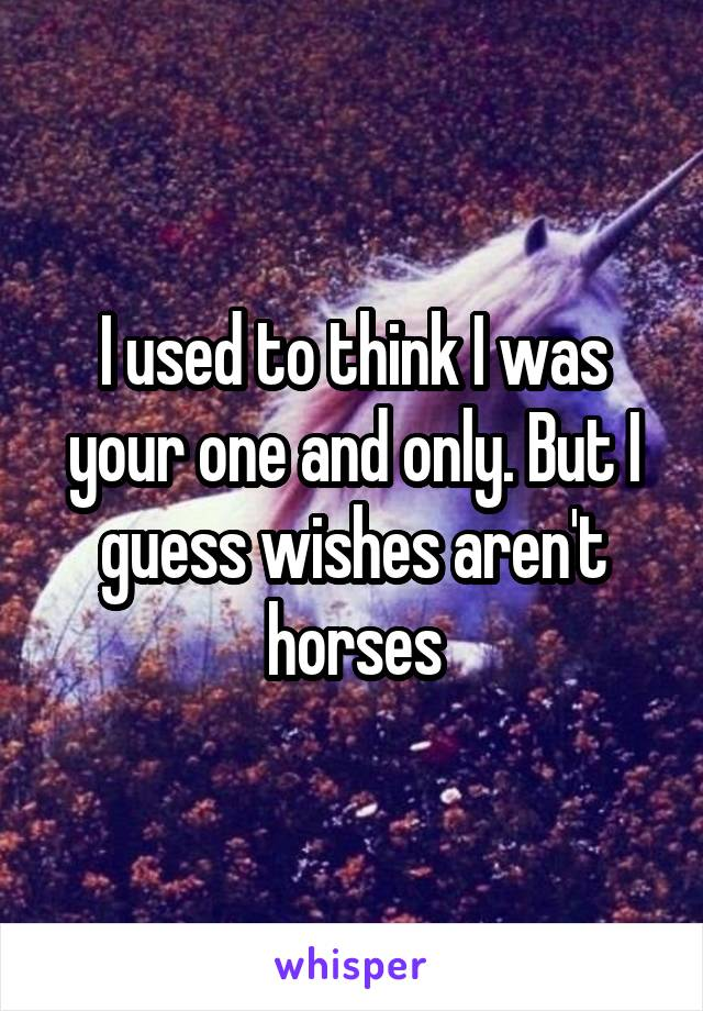 I used to think I was your one and only. But I guess wishes aren't horses