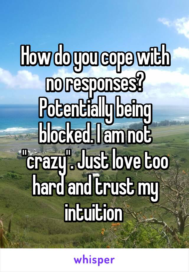 "How do you cope with no responses? Potentially being blocked. I am not ""crazy"". Just love too hard and trust my intuition"