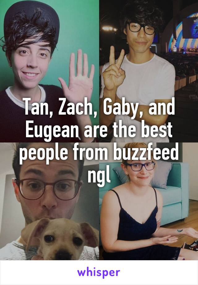 Tan, Zach, Gaby, and Eugean are the best people from buzzfeed ngl
