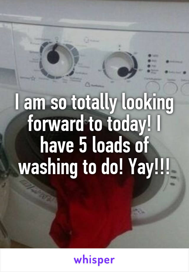 I am so totally looking forward to today! I have 5 loads of washing to do! Yay!!!