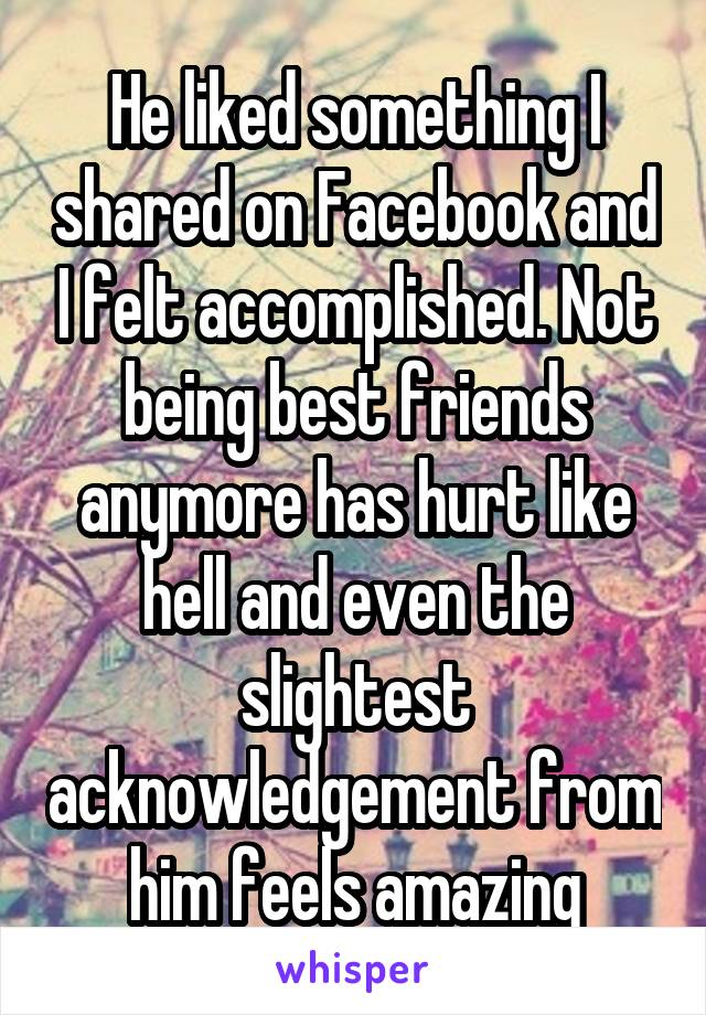 He liked something I shared on Facebook and I felt accomplished. Not being best friends anymore has hurt like hell and even the slightest acknowledgement from him feels amazing