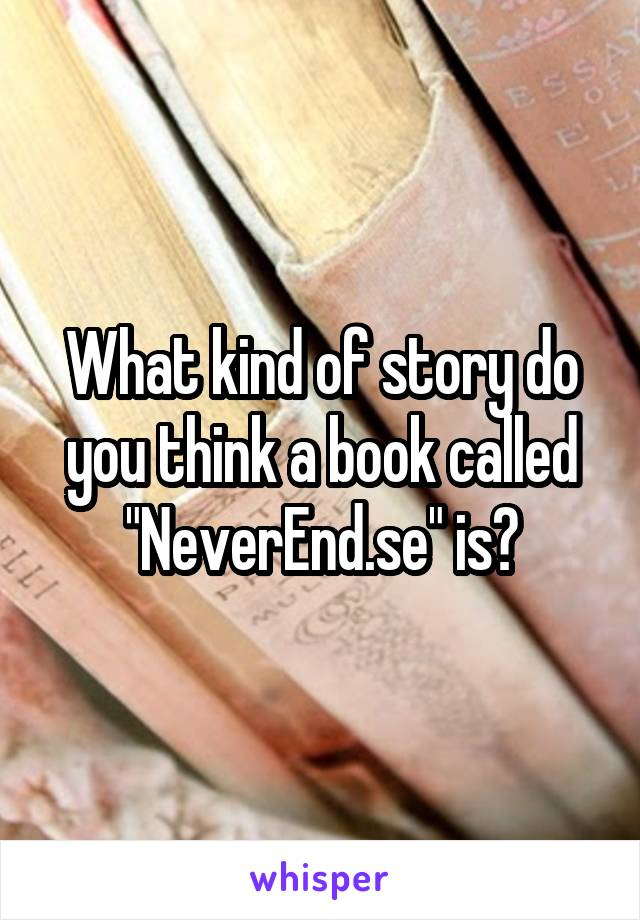 """What kind of story do you think a book called """"NeverEnd.se"""" is?"""