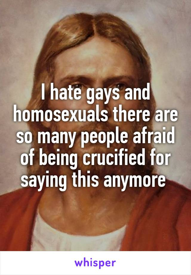 I hate gays and homosexuals there are so many people afraid of being crucified for saying this anymore
