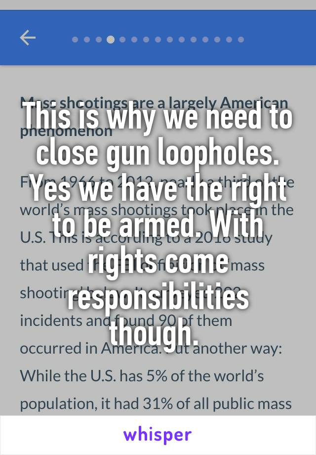 This is why we need to close gun loopholes. Yes we have the right to be armed. With rights come responsibilities though.