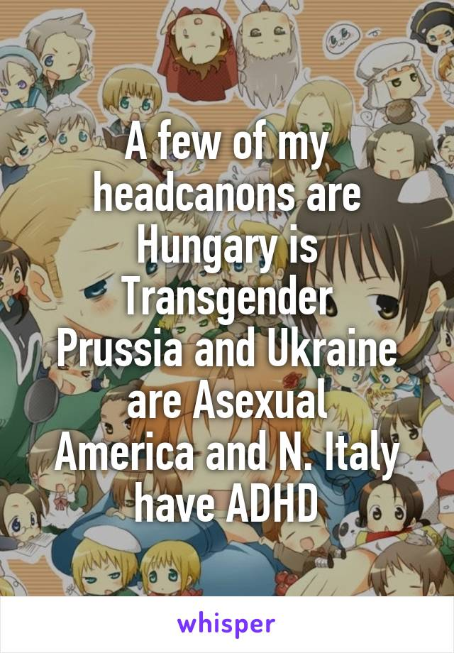 A few of my headcanons are Hungary is Transgender Prussia and Ukraine are Asexual America and N. Italy have ADHD