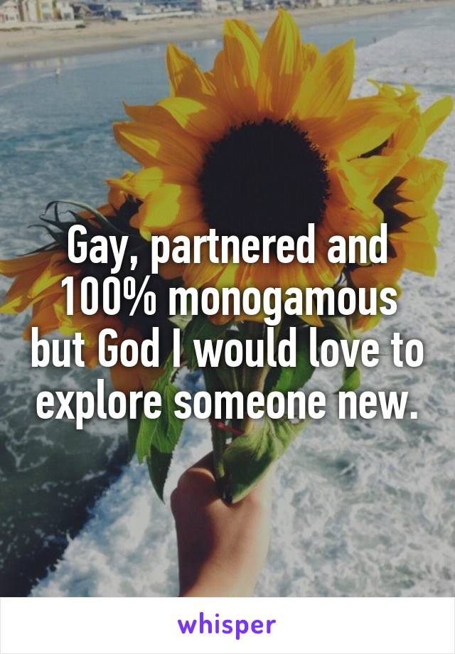 Gay, partnered and 100% monogamous but God I would love to explore someone new.
