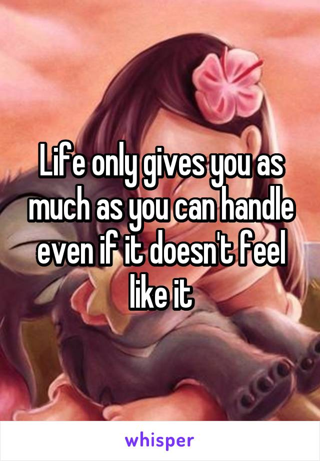 Life only gives you as much as you can handle even if it doesn't feel like it