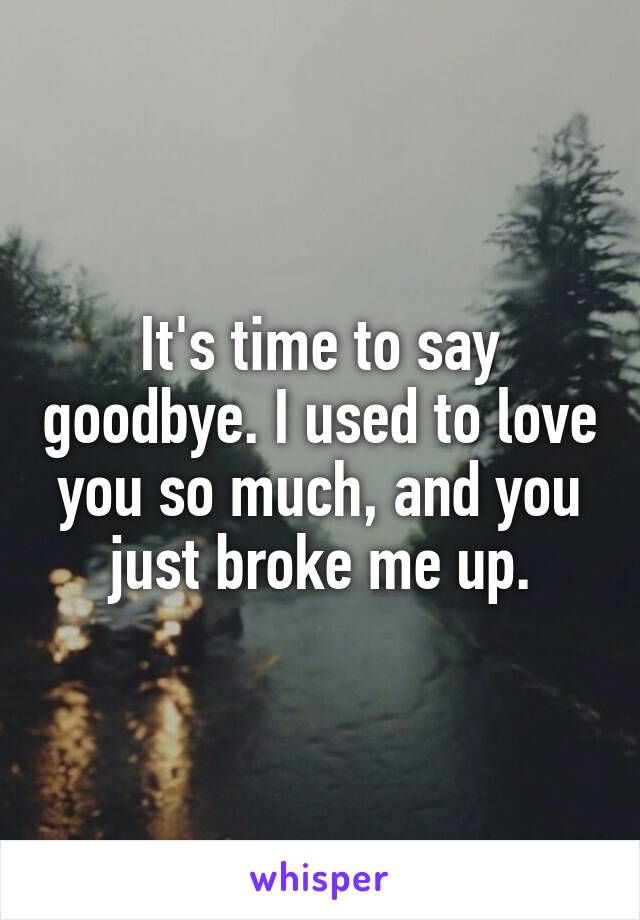 It's time to say goodbye. I used to love you so much, and you just broke me up.