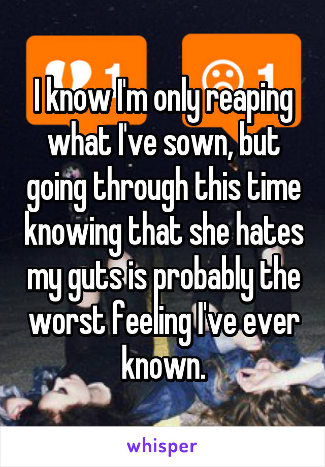 I know I'm only reaping what I've sown, but going through this time knowing that she hates my guts is probably the worst feeling I've ever known.