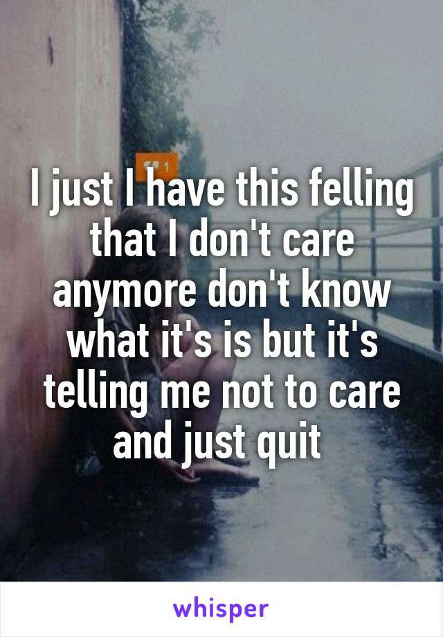 I just I have this felling that I don't care anymore don't know what it's is but it's telling me not to care and just quit
