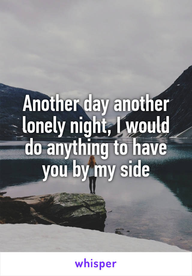 Another day another lonely night, I would do anything to have you by my side
