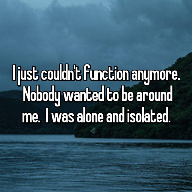 I just couldn't function anymore.  Nobody wanted to be around me.  I was alone and isolated.