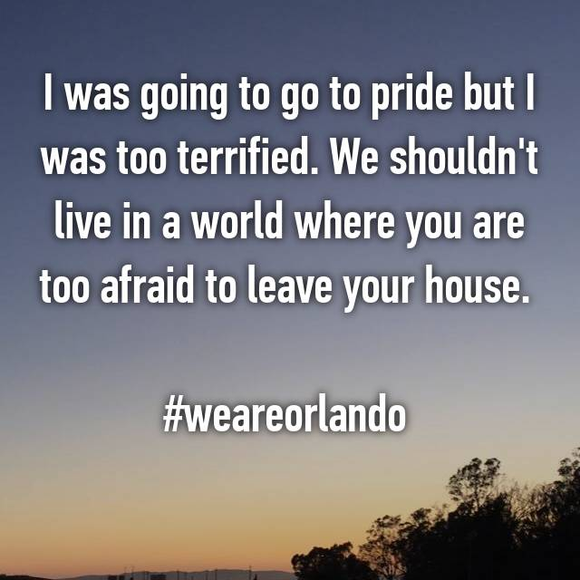 I was going to go to pride but I was too terrified. We shouldn't live in a world where you are too afraid to leave your house.   #weareorlando