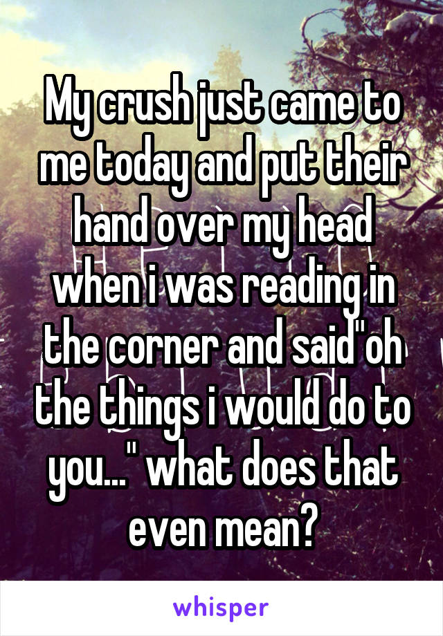 """My crush just came to me today and put their hand over my head when i was reading in the corner and said""""oh the things i would do to you..."""" what does that even mean?"""