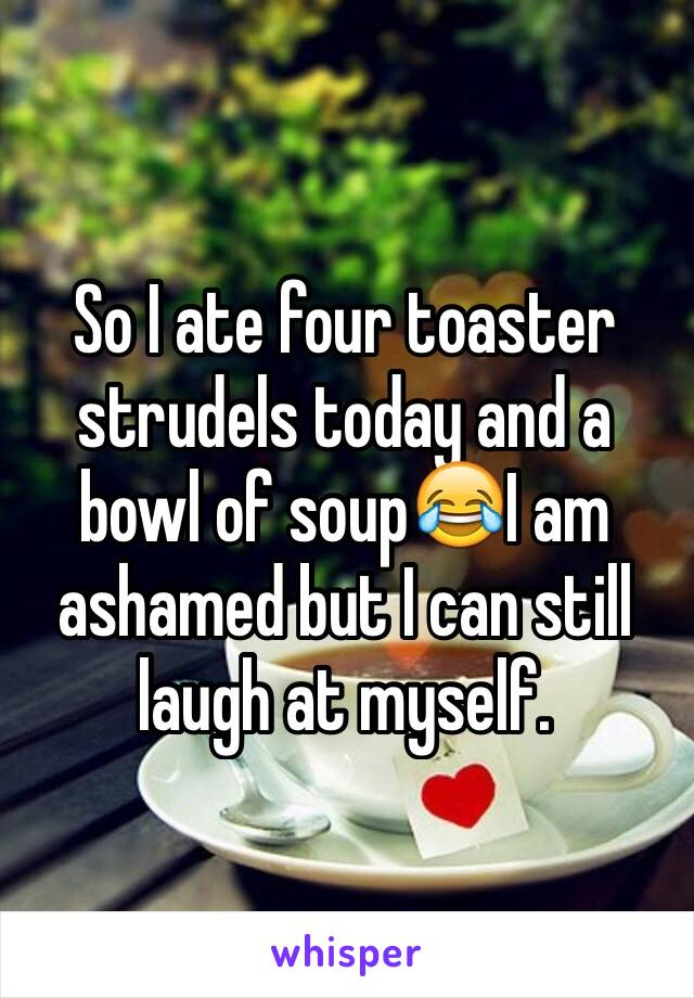 So I ate four toaster strudels today and a bowl of soup😂I am ashamed but I can still laugh at myself.