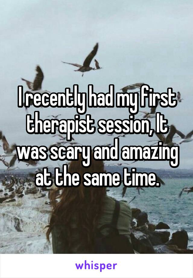 I recently had my first therapist session, It was scary and amazing at the same time.