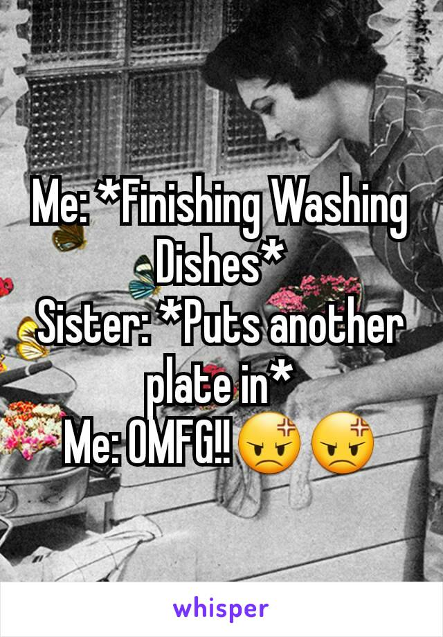 Me: *Finishing Washing Dishes* Sister: *Puts another plate in* Me: OMFG!!😡😡