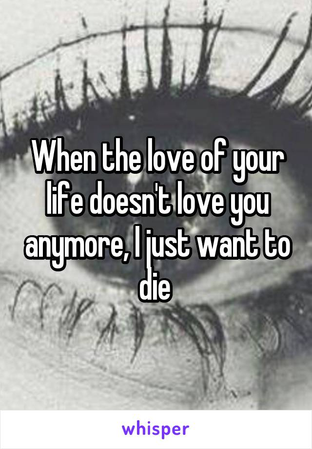 When the love of your life doesn't love you anymore, I just want to die
