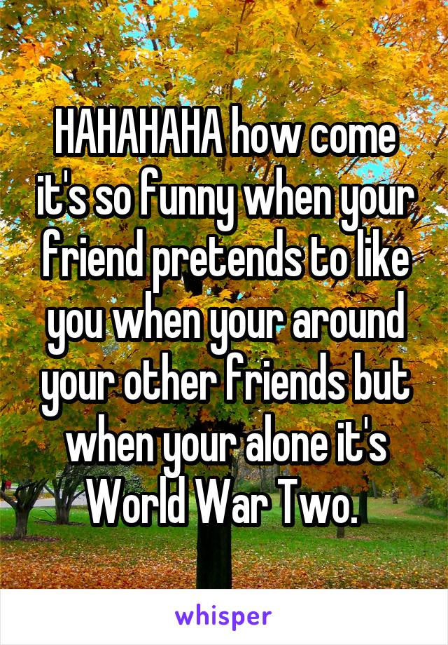 HAHAHAHA how come it's so funny when your friend pretends to like you when your around your other friends but when your alone it's World War Two.