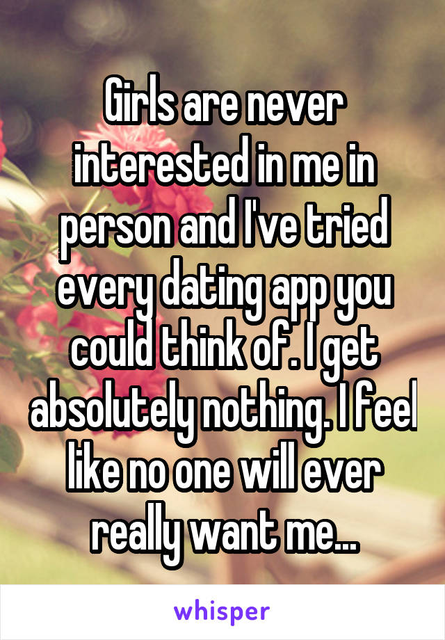 Never interested in dating