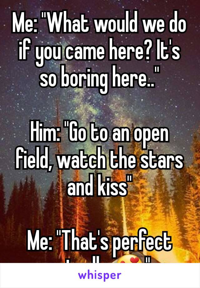 """Me: """"What would we do if you came here? It's so boring here..""""  Him: """"Go to an open field, watch the stars and kiss""""  Me: """"That's perfect actually 😍"""""""