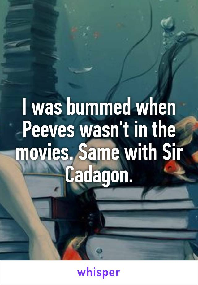 I was bummed when Peeves wasn't in the movies. Same with Sir Cadagon.