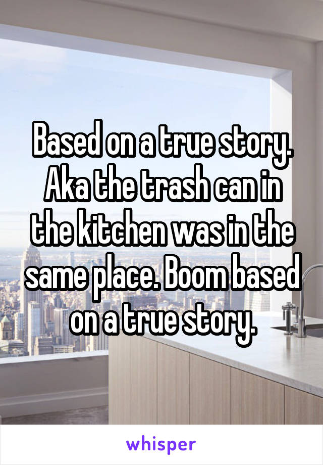 Based on a true story. Aka the trash can in the kitchen was in the same place. Boom based on a true story.