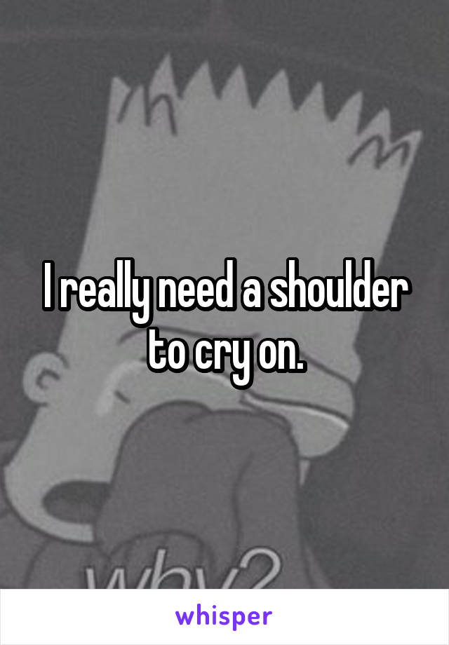 I really need a shoulder to cry on.
