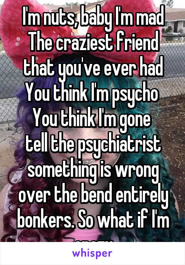 I'm nuts, baby I'm mad The craziest friend that you've ever had You think I'm psycho  You think I'm gone  tell the psychiatrist something is wrong over the bend entirely bonkers. So what if I'm crazy