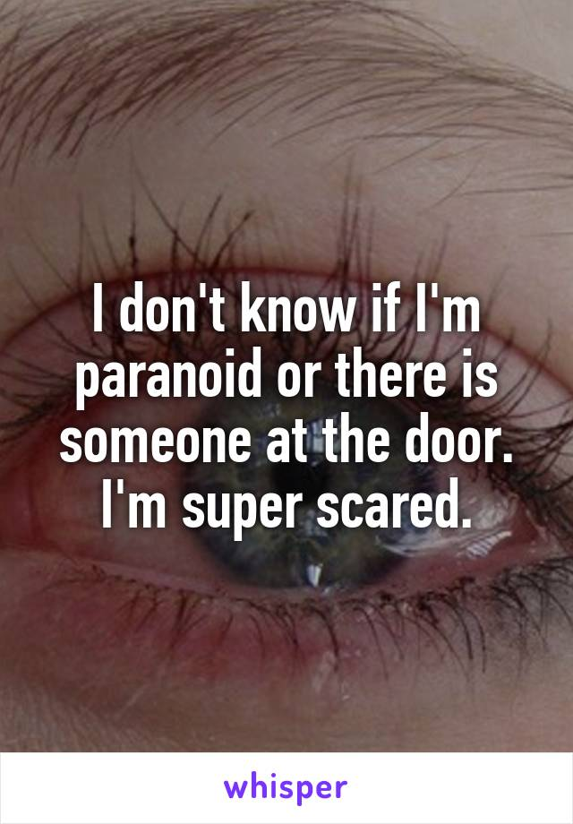 I don't know if I'm paranoid or there is someone at the door. I'm super scared.