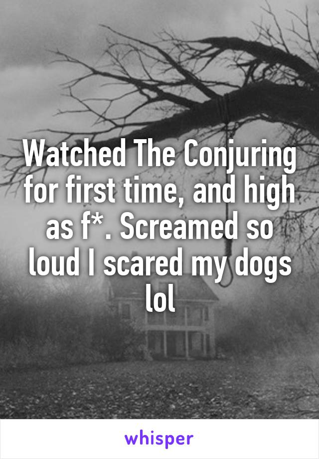 Watched The Conjuring for first time, and high as f*. Screamed so loud I scared my dogs lol