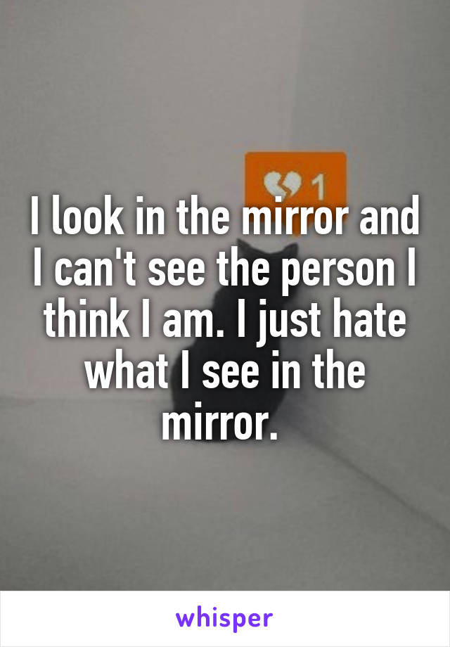 I look in the mirror and I can't see the person I think I am. I just hate what I see in the mirror.
